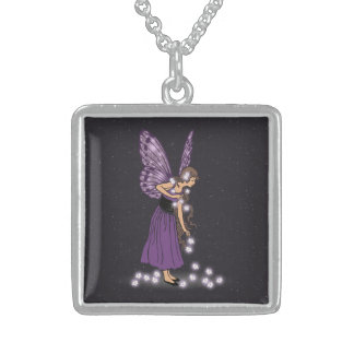 Glowing Star Flowers Pretty Purple Fairy Girl Square Pendant Necklace