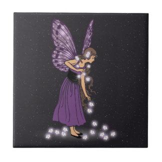 Glowing Star Flowers Pretty Purple Fairy Girl Tile