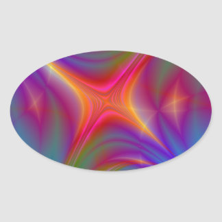 Glowing Star Oval Sticker