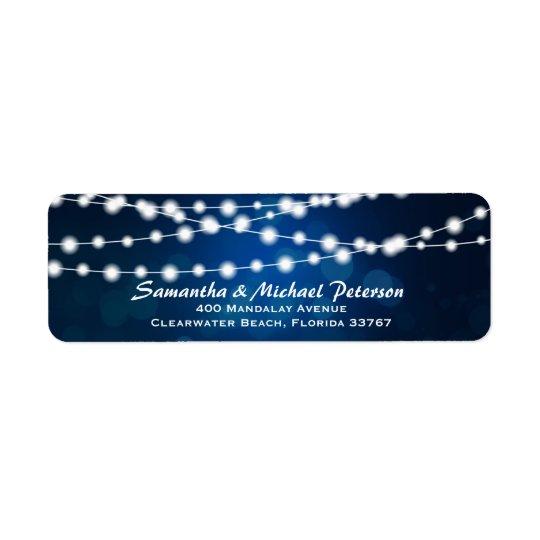 Glowing String Lights Deep Blue Custom Wedding Return Address Label