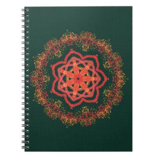 glowing sunflower kaleidoscope on green notebook