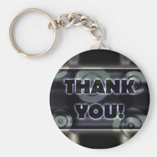 Glowing Target Rings Thank You Dark Metal Blue Basic Round Button Key Ring