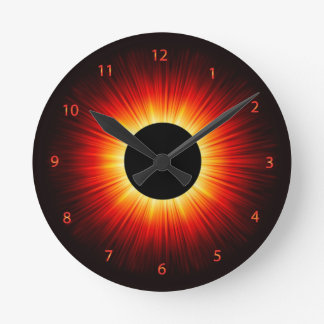Glowing Totaly Eclipse Of The Sun Round Clock