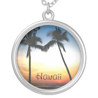 Glowing Tropical Sunset Hawaii Round Pendant Necklace