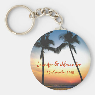 Glowing Tropical Sunset special  event Basic Round Button Key Ring