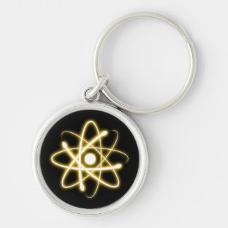 Glowing Yellow Atom | Geek Silver-Colored Round Key Ring