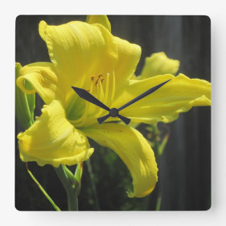 Glowing Yellow Lily Wall Clock