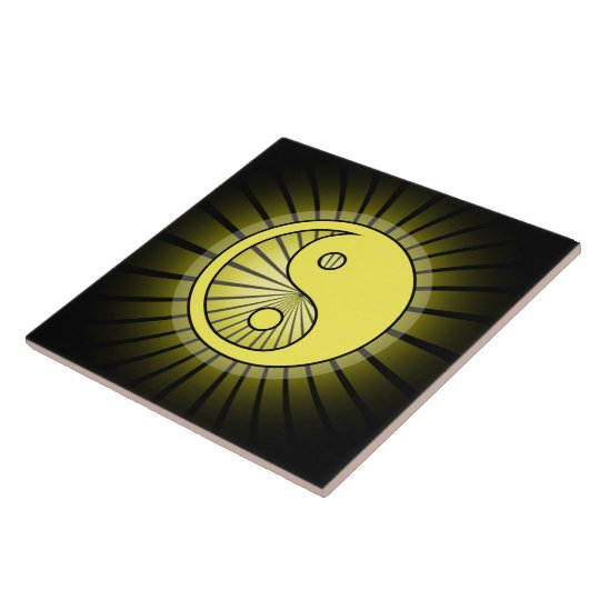Glowing Yellow Yin Yang over Black Large Square Tile