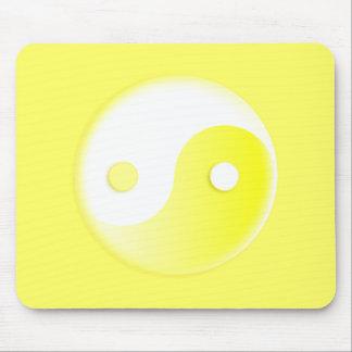 Glowing Yellow Yin/Yang Symbol Mouse Pad