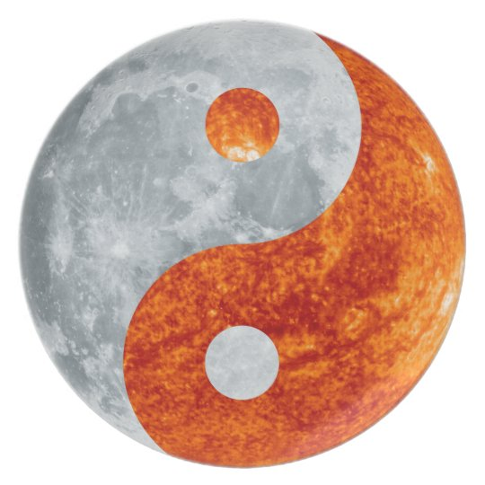 Glowing Yin & Yang Sun & Moon Designer Plate