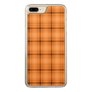 Glowy Look Copper Brown Plaid Print Carved iPhone 8 Plus/7 Plus Case