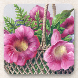 Gloxinia and Ferns in Basket Vintage Victorian Drink Coaster