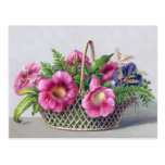Gloxinia and Ferns in Basket Vintage Victorian Postcards