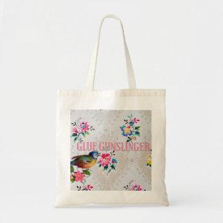 Glue gunslinger crafty tote vintage floral w/ bird budget tote bag
