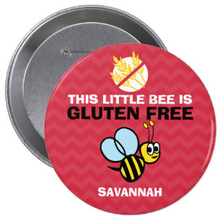 Gluten Free Bumble Bee Red Button for Celiac Alert