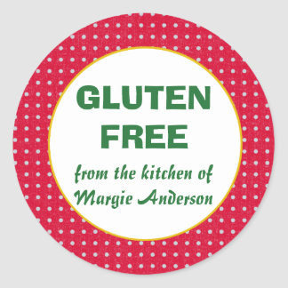 Gluten Free Christmas Polka Dot Classic Round Sticker