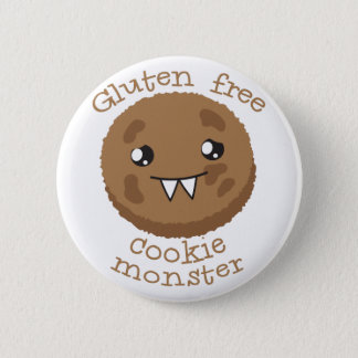Gluten free cookie monster 6 cm round badge