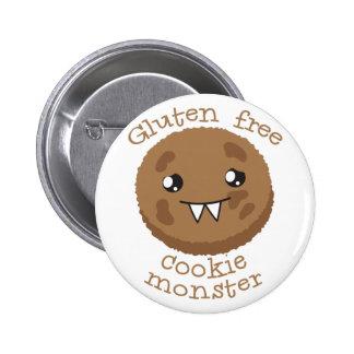 Gluten free cookie monster 6 cm round badge