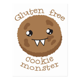 Gluten free cookie monster postcard