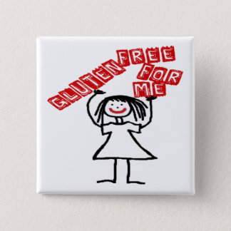 Gluten Free For Me Cartoon 15 Cm Square Badge