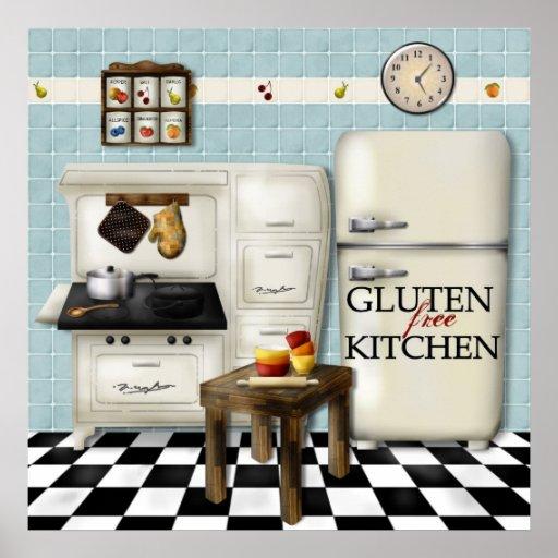 Gluten Free Kitchen - Teal Poster