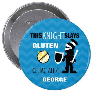 Gluten Free Knight Blue Chevron Stripe Button