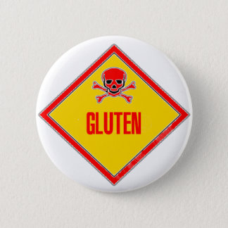Gluten Poison Warning 6 Cm Round Badge