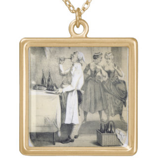 Gluttony in the Kitchen, from a series of prints d Gold Plated Necklace