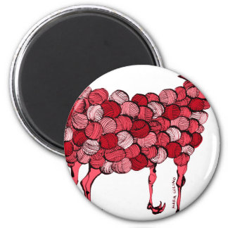 GM sheep (red) 6 Cm Round Magnet