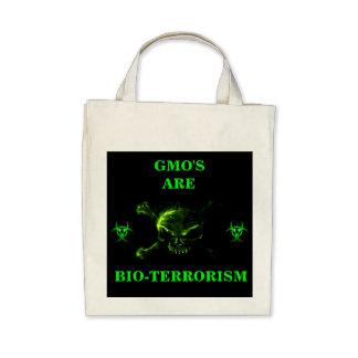 GMO S ARE BIO-TERRORISM ORGANIC TOTE TOTE BAG