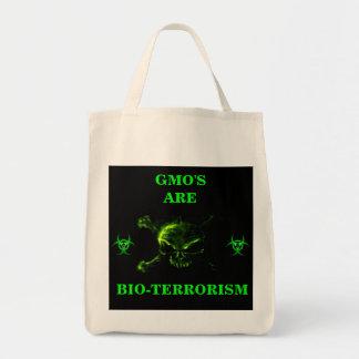 GMO'S ARE BIO-TERRORISM ORGANIC TOTE GROCERY TOTE BAG