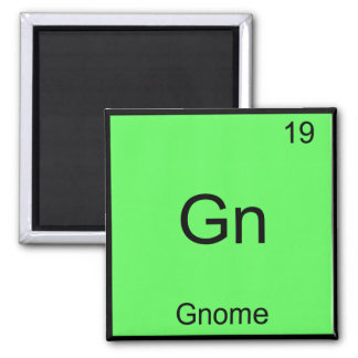 Gn - Gnome Funny Chemistry Element Symbol T-Shirt Square Magnet