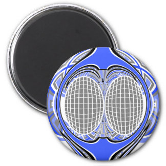Gnarly superfly in blue and white 6 cm round magnet