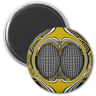 Gnarly superfly in silver and gold 6 cm round magnet