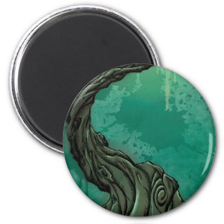 Gnarly Tree and Crescent Moon 6 Cm Round Magnet