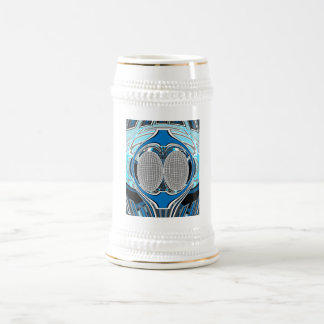 Gnarly white and blue superfly beer steins