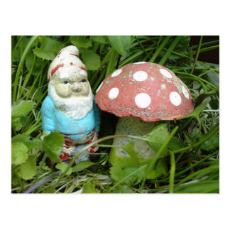 Gnome and Toadstool Post Card