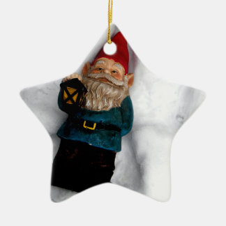 Gnome Angel Double-Sided Star Ceramic Christmas Ornament