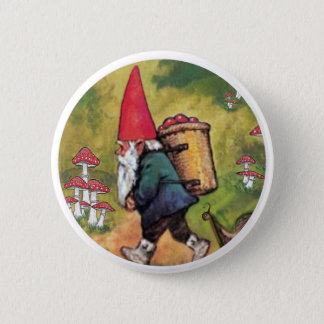 Gnome Apple Basket Snail Mushrooms Fantasy 6 Cm Round Badge