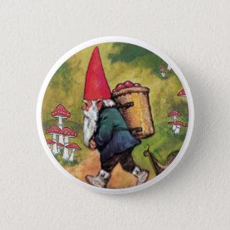 Gnome Apple Basket Snail Mushrooms Fantasy 6 Cm Round Badge