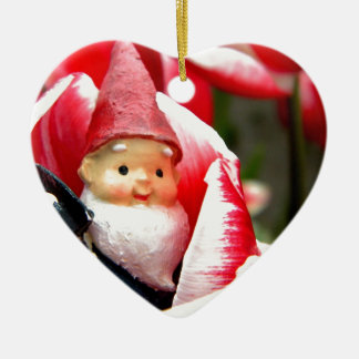 Gnome Blossom Ceramic Heart Decoration