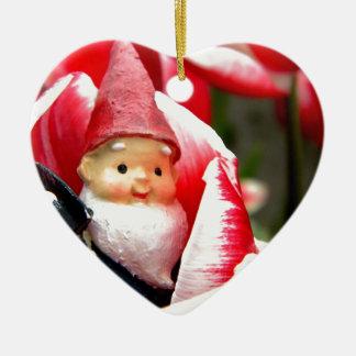 Gnome Blossom Double-Sided Heart Ceramic Christmas Ornament
