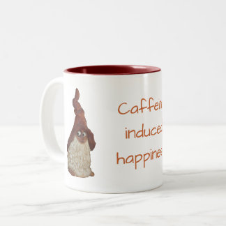 Gnome Caffeine Induced Happiness Joke Two-Tone Coffee Mug