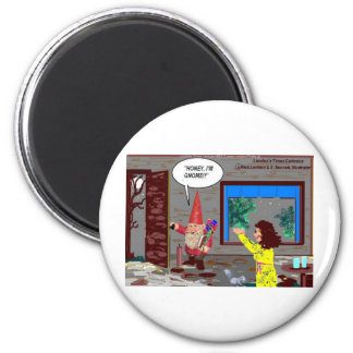 Gnome Cartoon Funny Gifts Tees Mugs Cards Etc 6 Cm Round Magnet