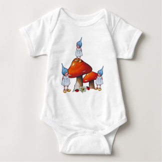 Gnome Children, Triplet Girls, Toadstools, Art Baby Bodysuit
