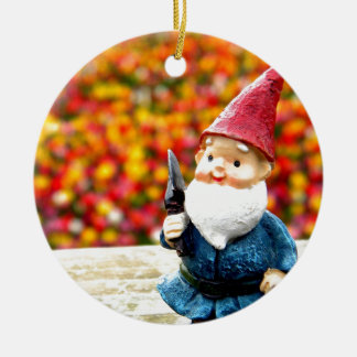 Gnome Field Round Ceramic Decoration