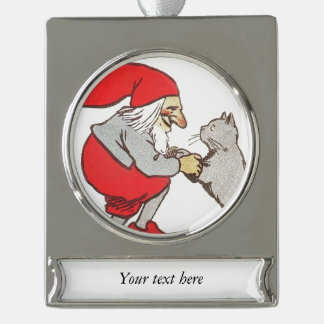 Gnome Holding Cat Paws Silver Plated Banner Ornament