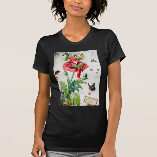 Gnome in a poppy flower tee shirt