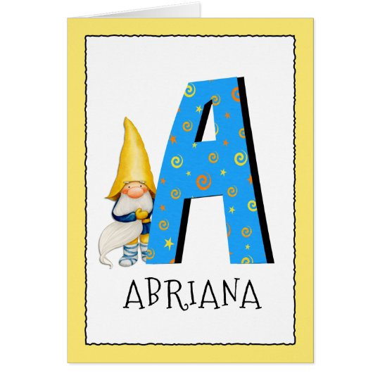 Gnome Kids Letter A Name and Age Birthday
