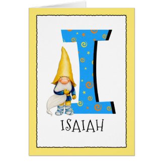 Gnome Kids Letter I Name and Age Birthday Greeting Card